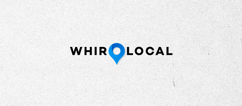 WhirLocal logo on a textured gray background