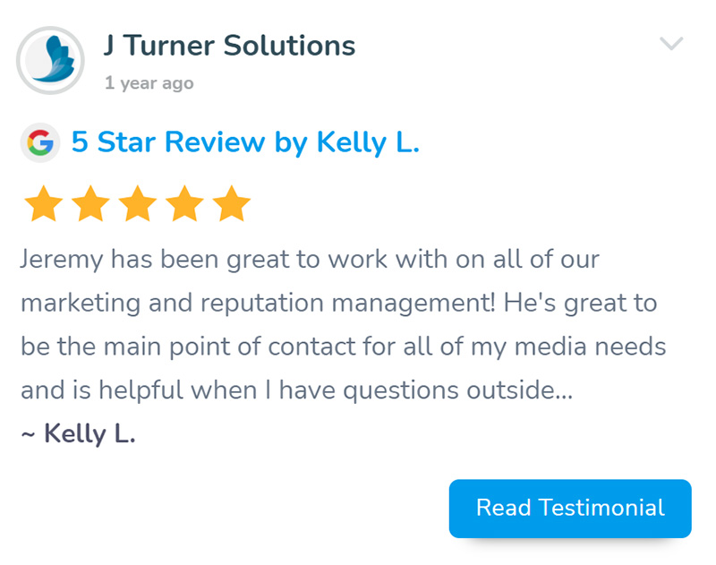 Screenshot of a 5 star Google review for J Turner Solutions by Kelly L on WhirLocal.io
