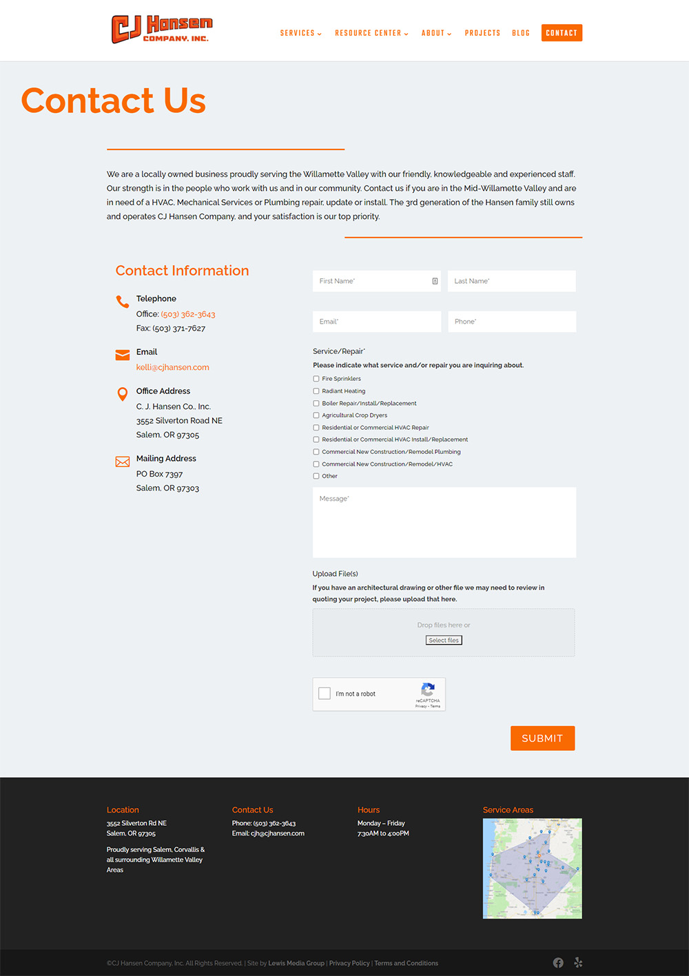 CJ Hansen Contact page after redesign