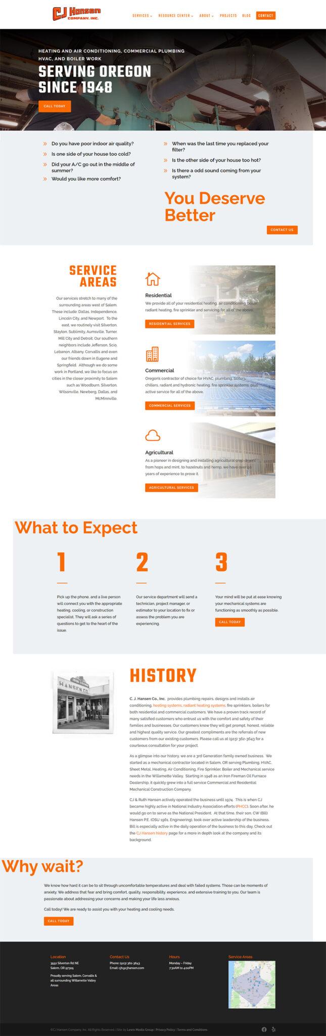 CJ Hansen Home page after redesign