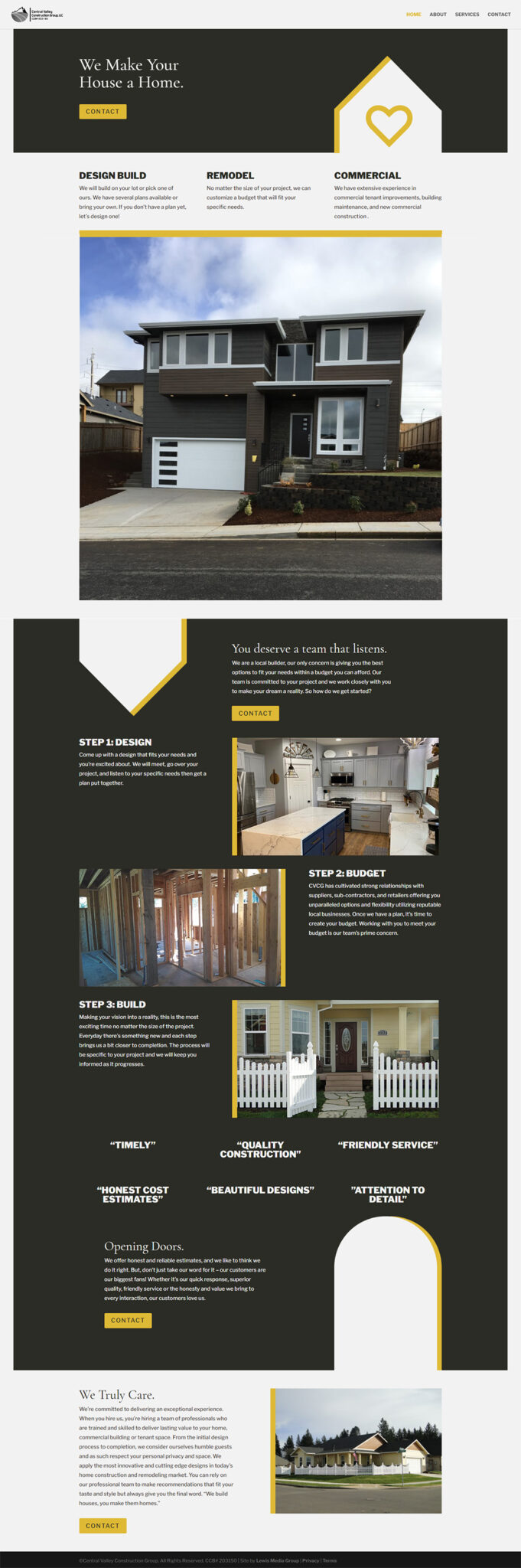 Central Valley Construction Group Home page After redesign