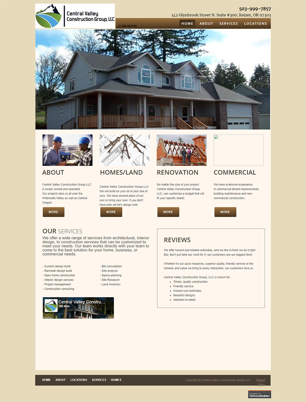 Central Valley Construction Group Home page Before redesign