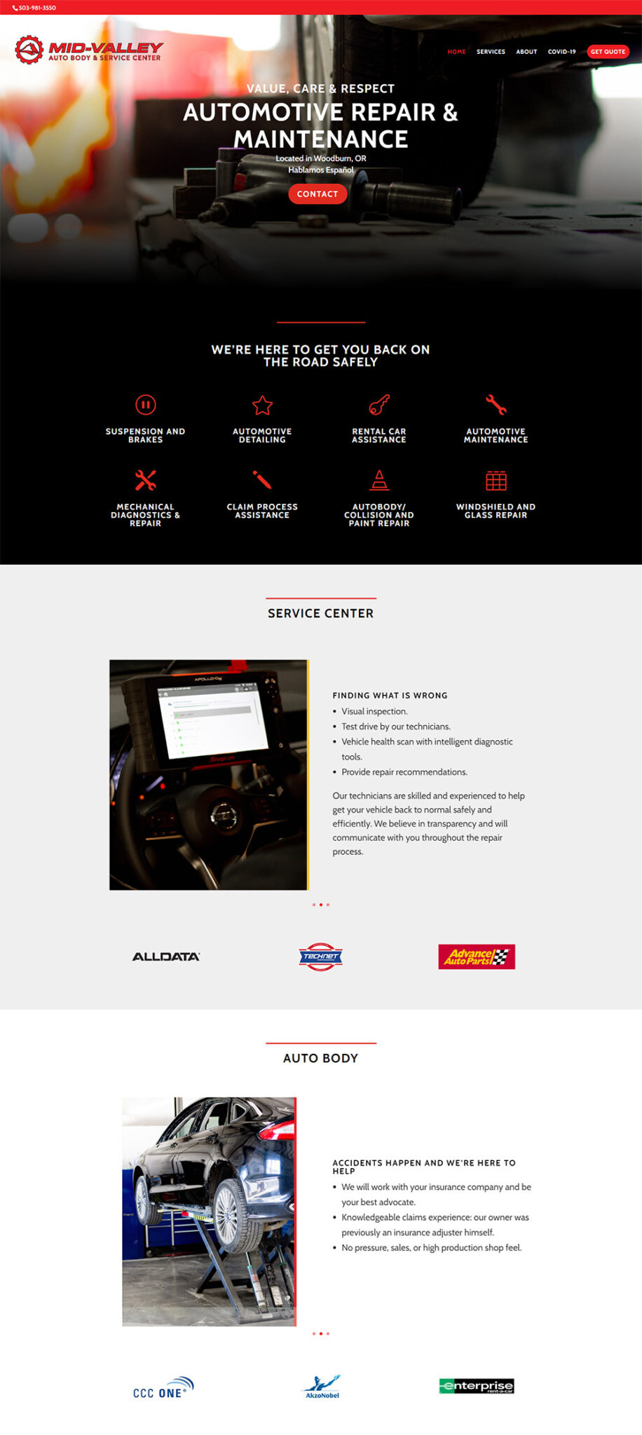 First half of the Mid-Valley Auto Body & Service Center Home page After Redesign