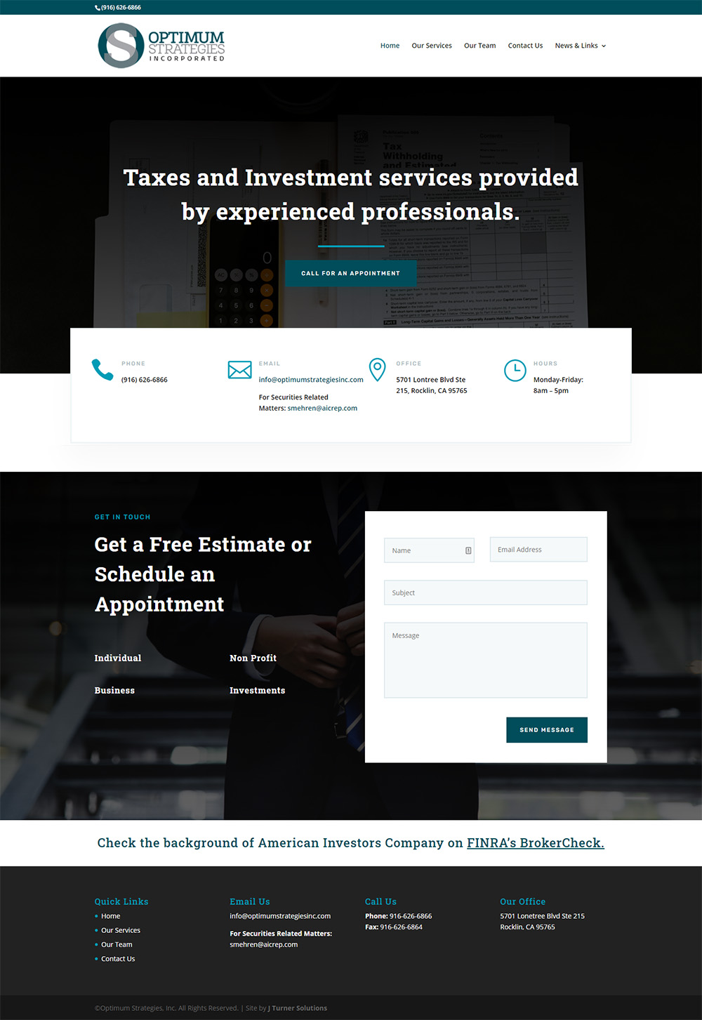 Optimum Strategies Home page after design