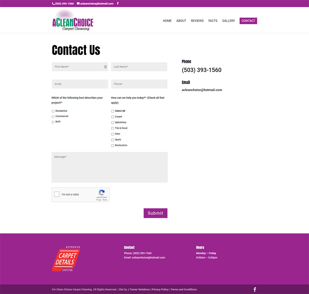 A Clean Choice Carpet Cleaning Contact page after redesign