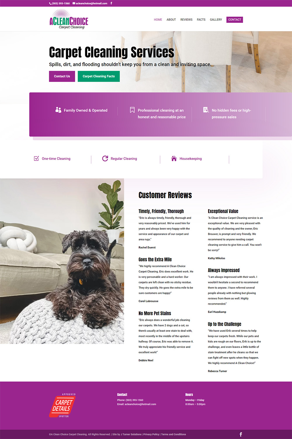 A Clean Choice Carpet Cleaning Home page after redesign