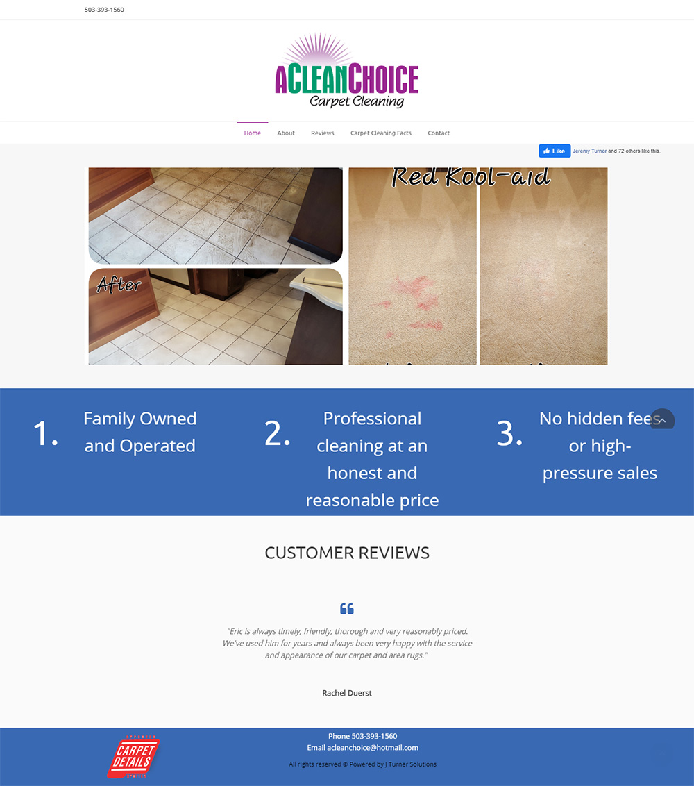A Clean Choice Carpet Cleaning Home page before redesign