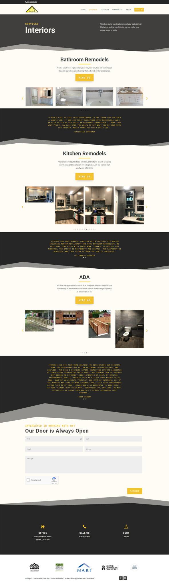 Leupitz Contractors Interiors page after redesign