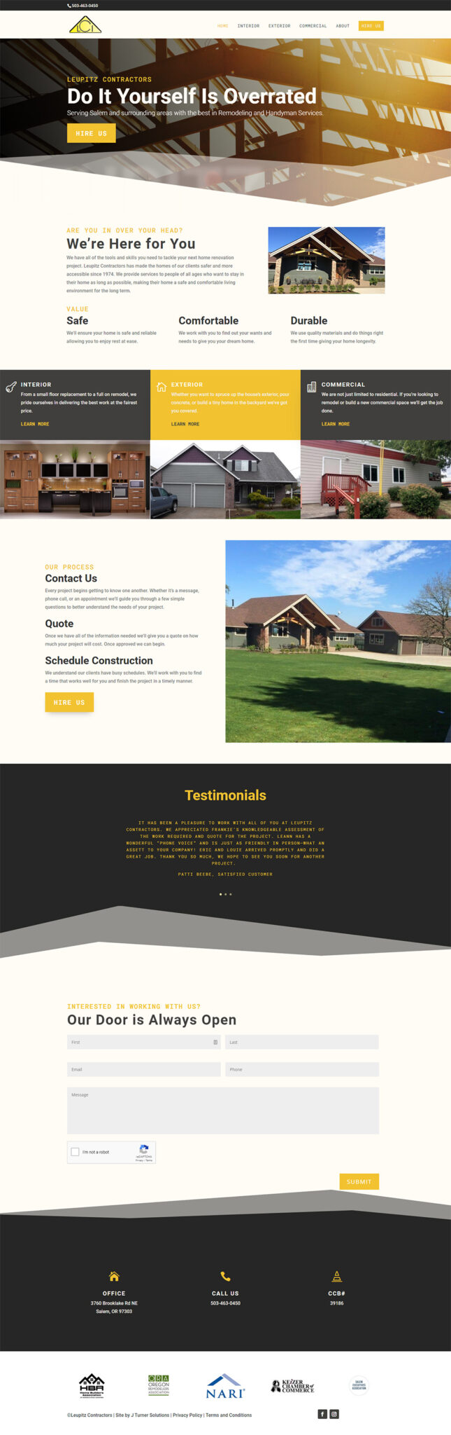 Leupitz Contractors Home page after redesign