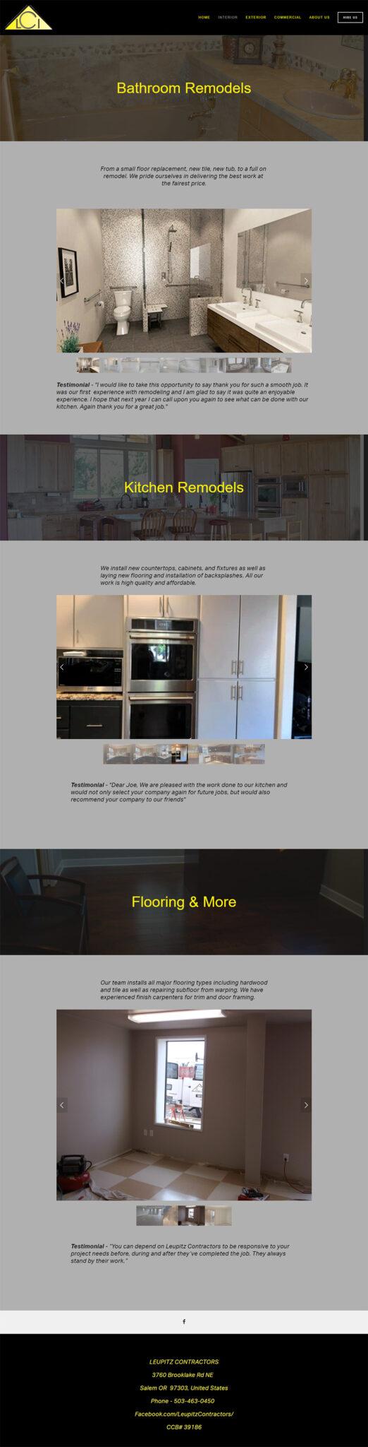 Leupitz Contractors interiors page before redesign