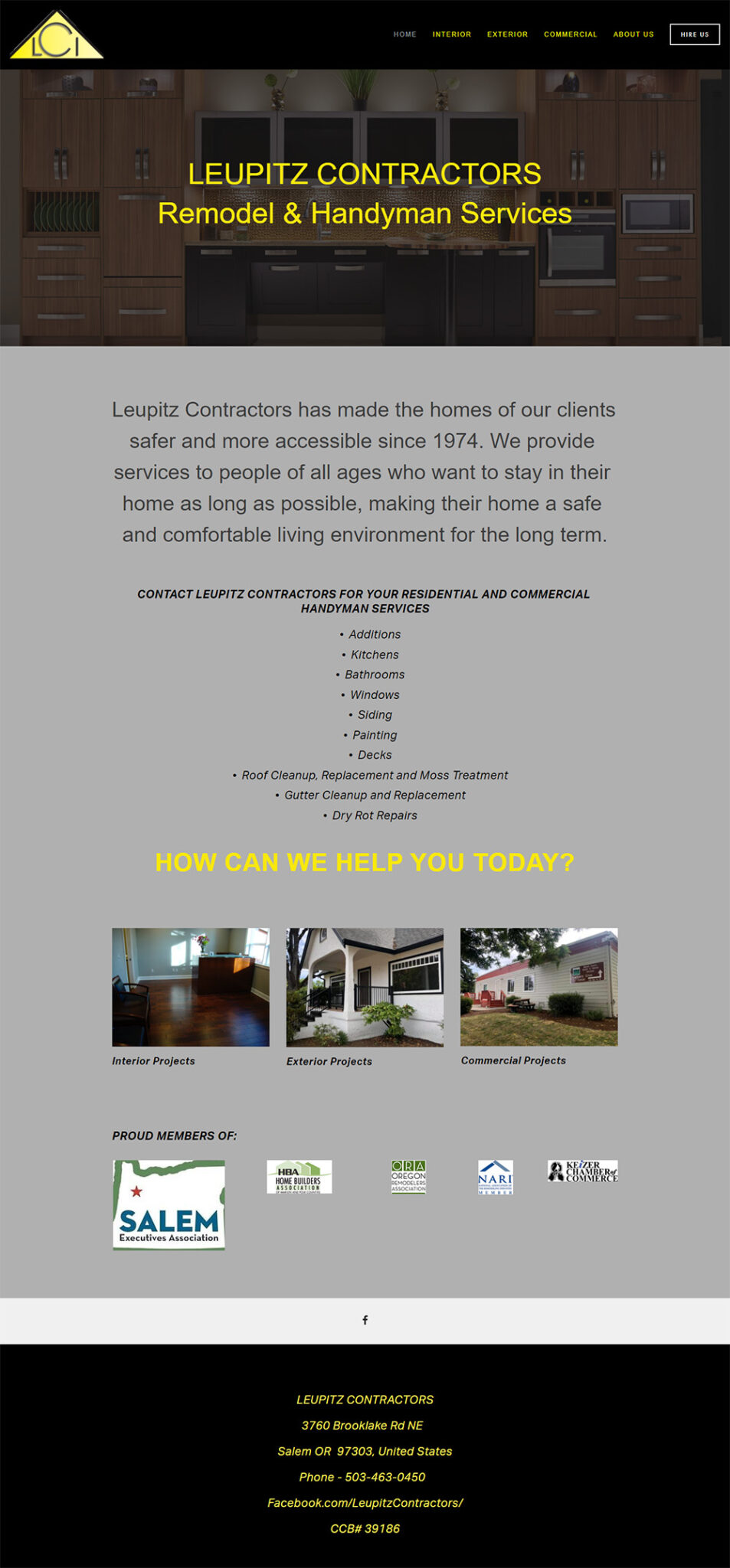 Leupitz Contractors Home page before redesign