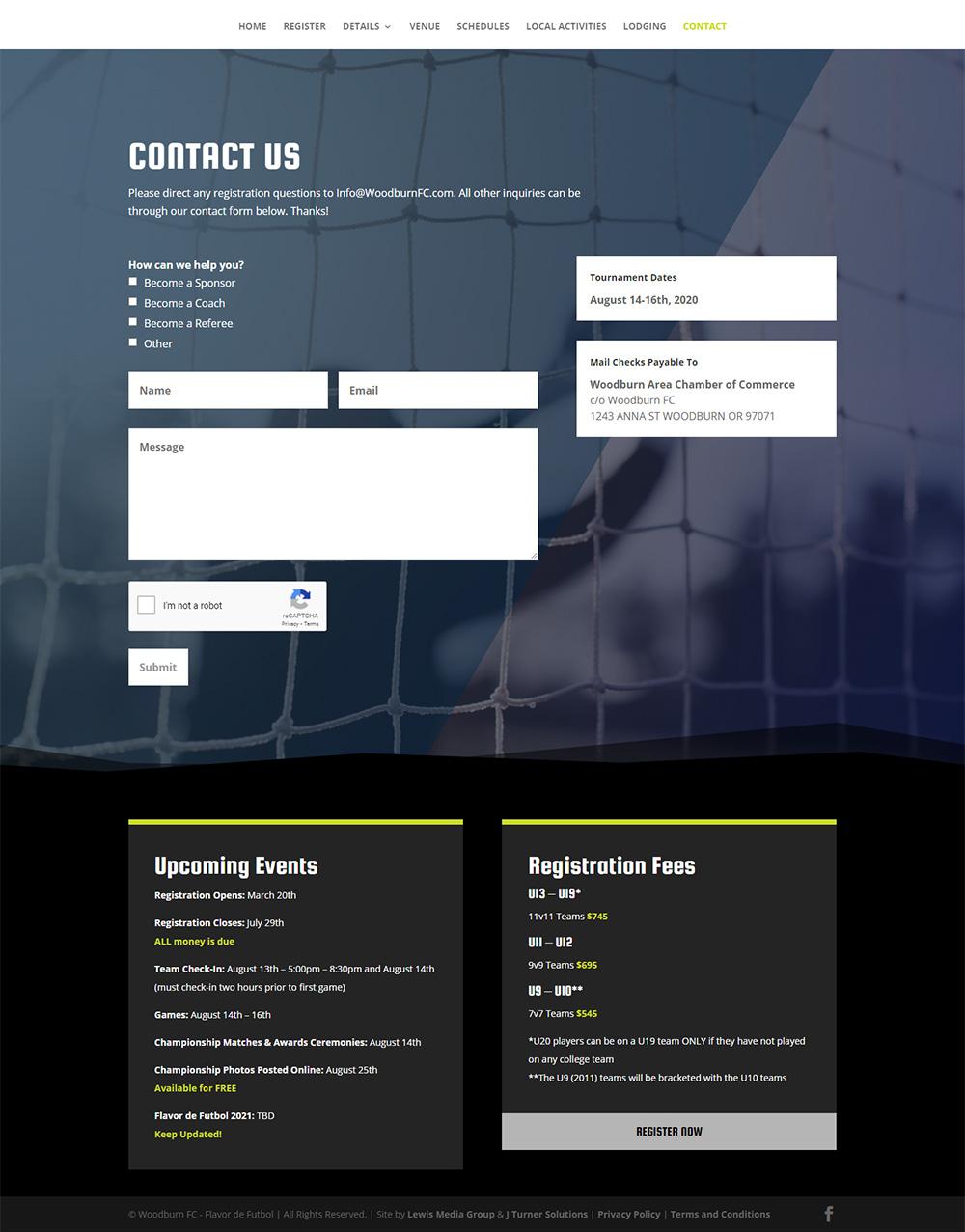 Flavor de Futbol Contact page after design