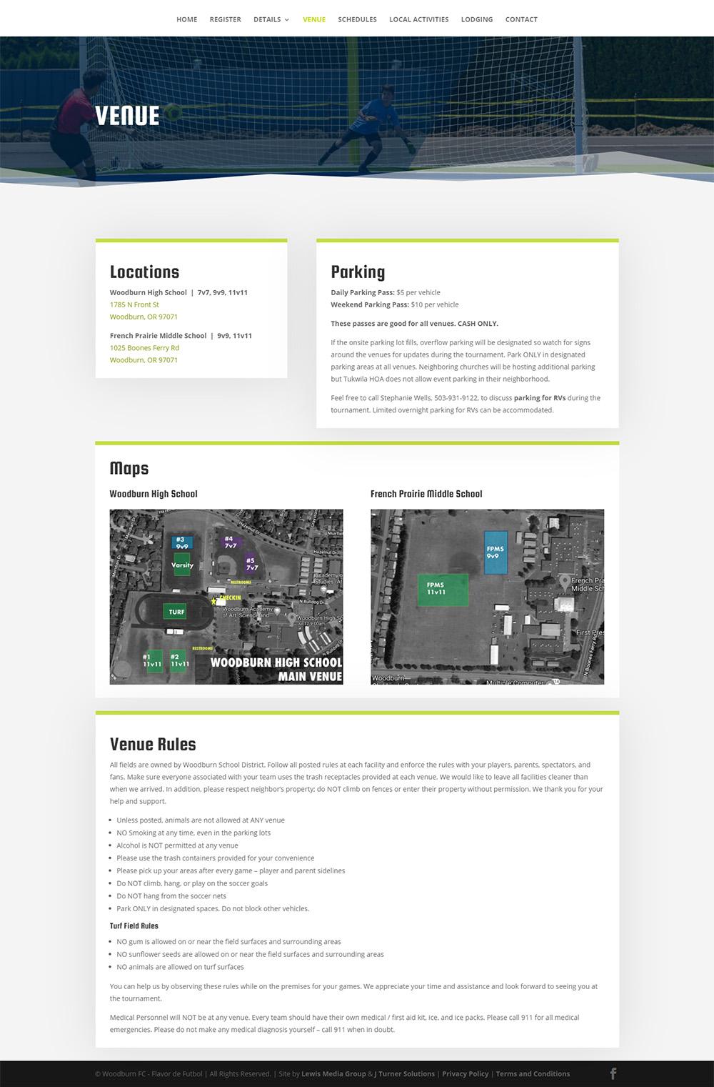 Flavor de Futbol Venue page after design