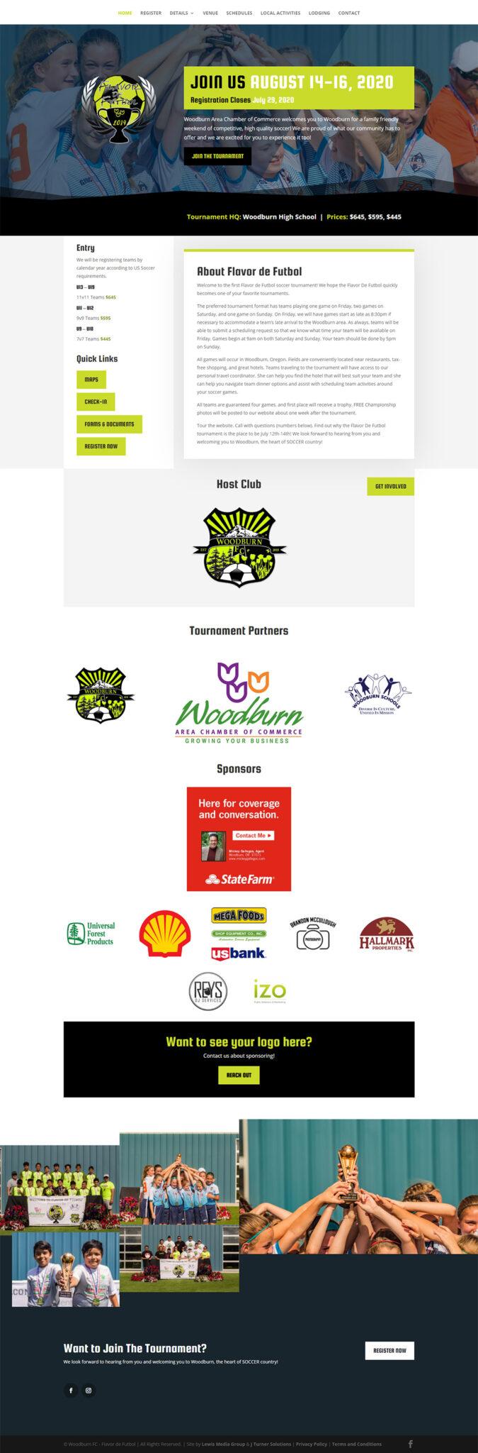 Flavor de Futbol Home page after design