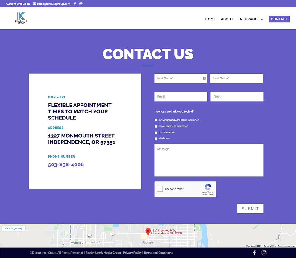 K Insurance Group (Pfaff-Karren Insurance) contact page after redesign