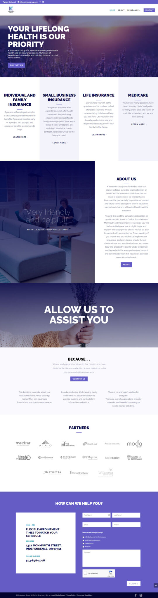 K Insurance Group (Pfaff-Karren Insurance) home page after redesign