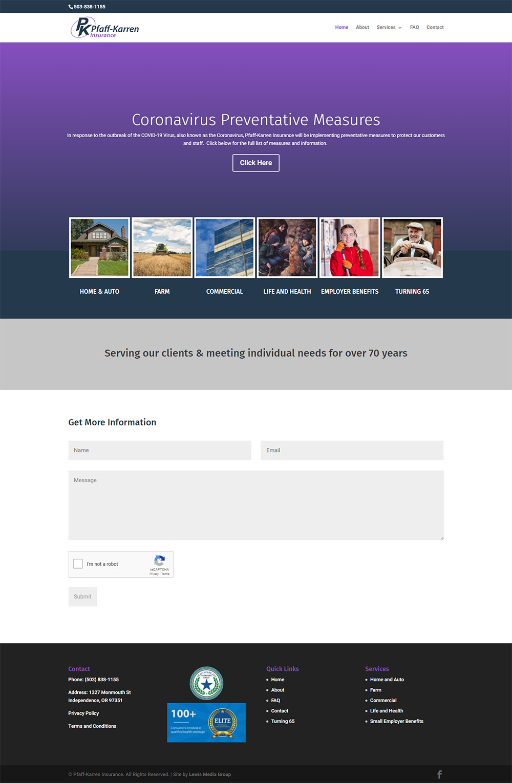 K Insurance Group (Pfaff-Karren Insurance) home page before redesign