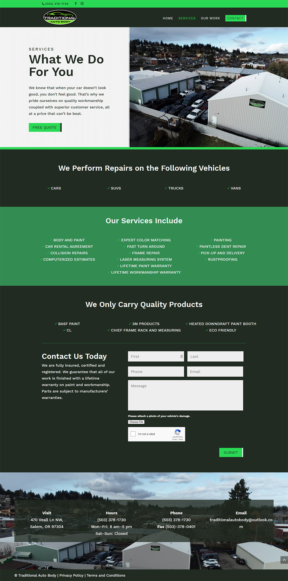 Traditional Auto Body Services page after redesign