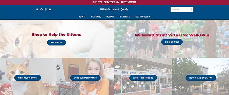 screenshot of willamette human society homepage