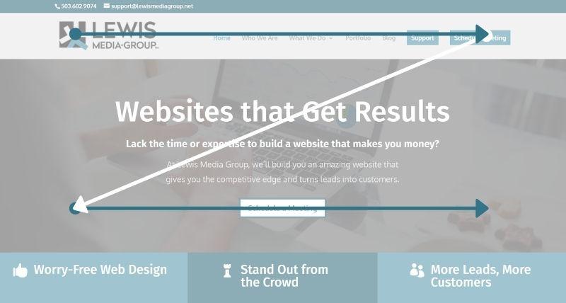 Z pattern on top of Lewis Media Group's website