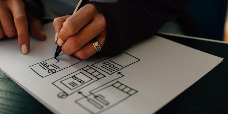 Designer sketching out wireframes