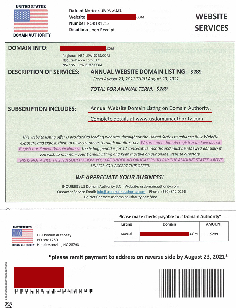 Scan of US Domain Authority letter with private information redacted - a common domain renewal scam