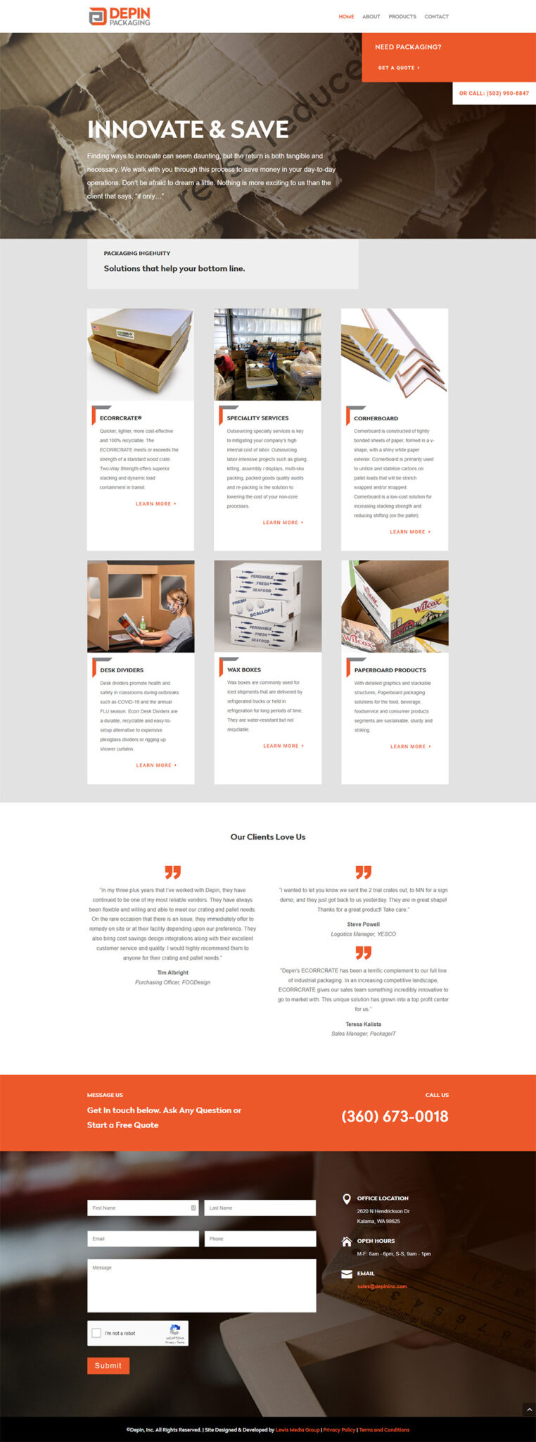 Depin Packaging home page after redesign