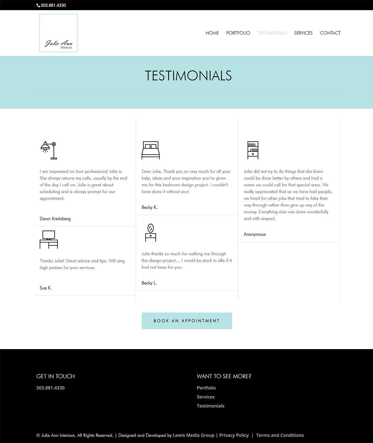Julie Ann Interiors website testimonials page screenshot with robins egg blue, white, and black