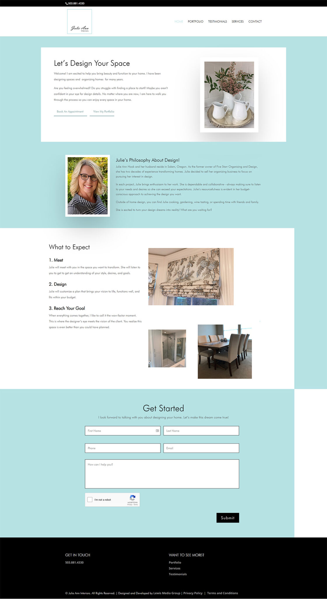 Julie Ann Interiors website homepage screenshot with robins egg blue, white, and black