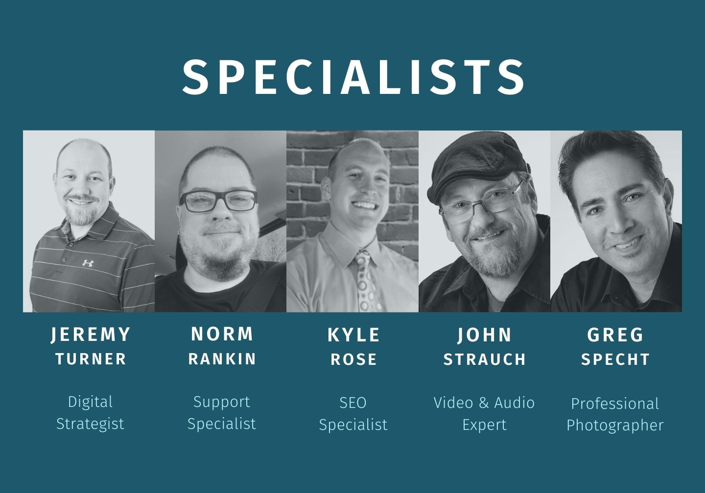 Lewis Media Group Specialists - Jeremy Turner, Digital Strategist, Norm Rankin, Support, Kyle Rose, SEO, John Strauch, Video & Audio Expert, Greg Specht, Professional Photographer